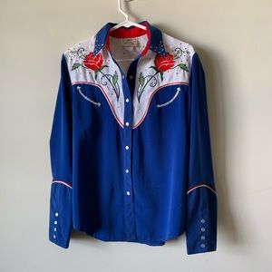 Vintage southwestern embroidered pearl snap shirt